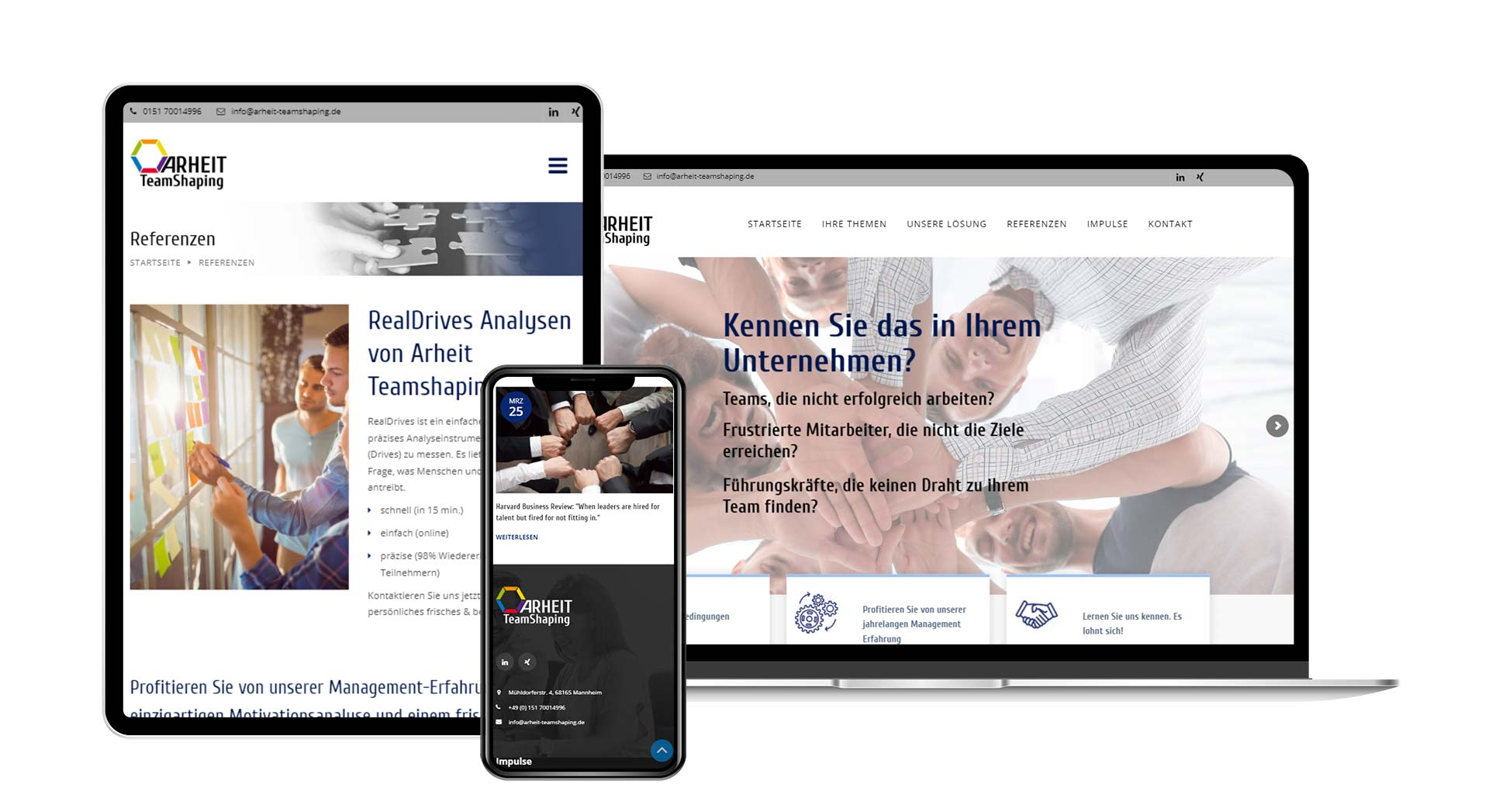 Webseitenerstellung für Arheit TeamShaping aus Mannheim